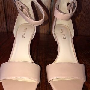 Nude Nine West Sandals with Ankle Strap